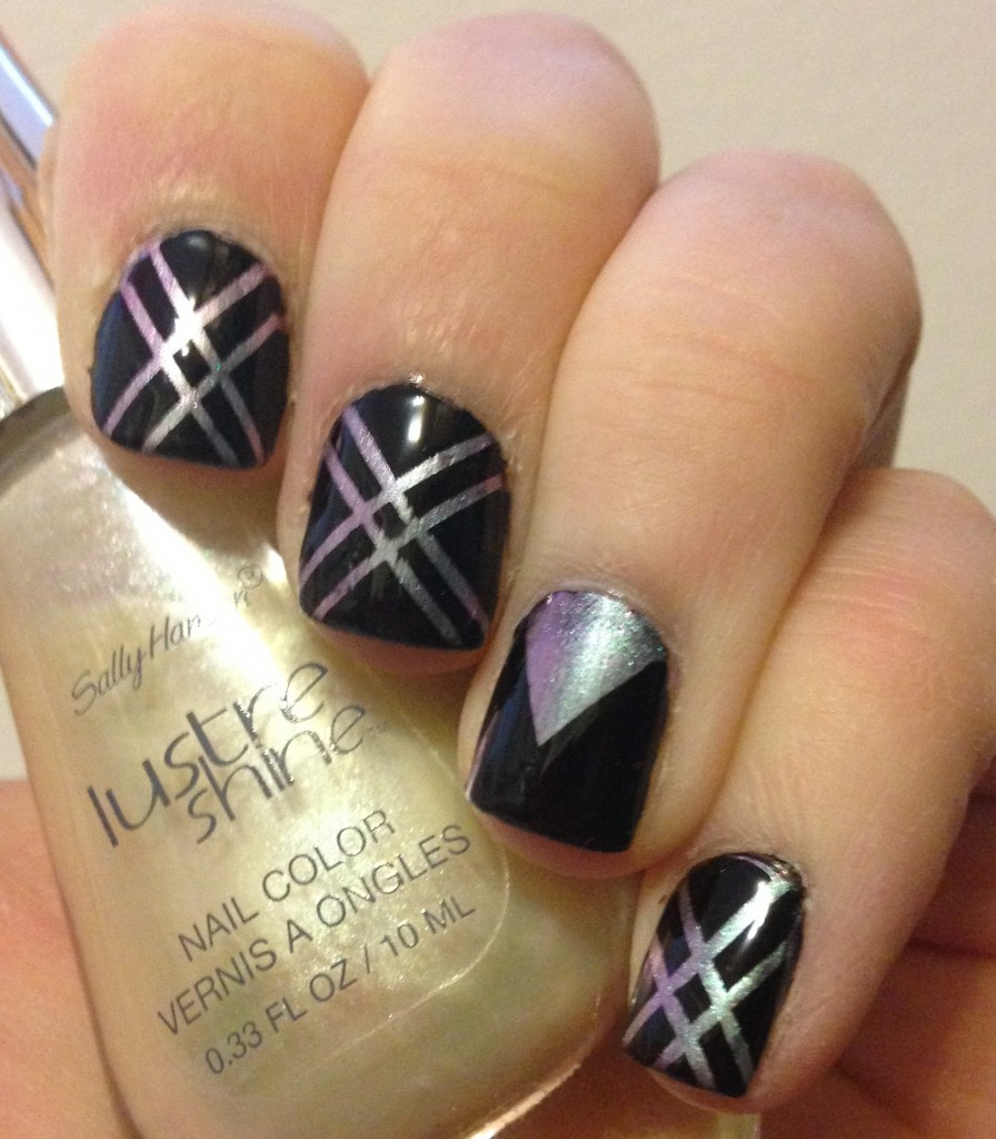Striping Tape Nail Art Featuring Sally Hansen Lustre Shine Moonstone